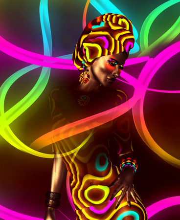 model release: African American Fashion Beauty. Perfect for expressing themes of  fashion, diversity, hairstyles, beauty and makeup. A colorful abstract background enhances the scene. 3d digital art render so no model release worries! Stock Photo