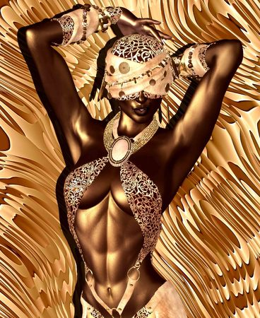 enhances: African American Fashion Beauty. Perfect for expressing themes of  fashion, diversity, hairstyles, beauty and makeup. A colorful abstract background enhances the scene. 3d digital art render so no model release worries! Stock Photo