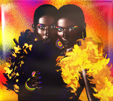African American Fashion Beauty. Perfect for expressing themes of  fashion, diversity, hairstyles, beauty and makeup. A colorful abstract background enhances the scene. 3d digital art render so no model release worries! Stock Photo