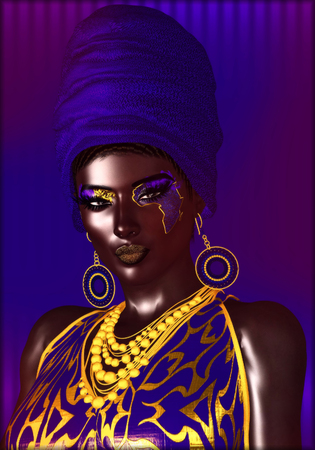 self worth: African American Fashion Beauty. Perfect for expressing themes of fashion, diversity, hairstyles, beauty and makeup. 3d digital art render