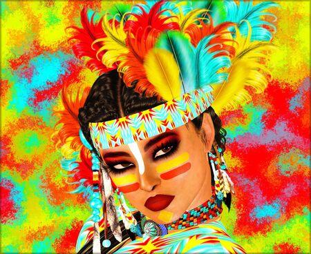 Native American Indian mit bemalten Gesicht und Federn. Großes Bild für Themen, die auf Vielfalt, Kultur, Erbe Schönheit und mehr Ausdruck zu bringen. Unsere Kunst ist eine 3D-Darstellung Standard-Bild