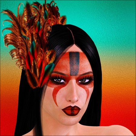 infatuation: Native American Indian with painted face and feathers. Great image for expressing themes on diversity, culture, heritage beauty and more. Our art is a 3d render Stock Photo