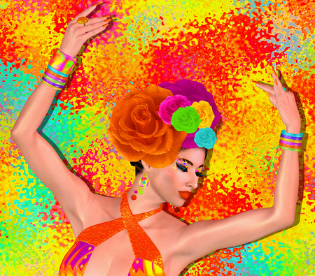 Brunette beauty and fashion makeup image. Colorful abstract background, 3d render digital art with Latin flavor. Stock fotó