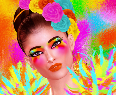 Brunette beauty and fashion makeup image. Colorful abstract background, 3d render digital art with Latin flavor. Imagens