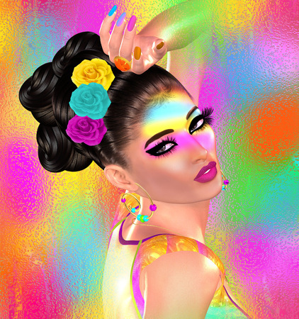 Brunette beauty and fashion makeup image. Colorful abstract background, 3d render digital art with Latin flavor. Zdjęcie Seryjne