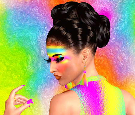 Brunette beauty and fashion makeup image. Colorful abstract background, 3d render digital art with Latin flavor. Stock Photo