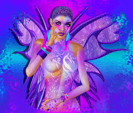 Fairy magical fantasy with wings in purple. Beautiful eye shadow, fashion makeup and glittering body paint.