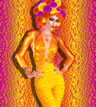 Blumen-Hut schmückt diese schöne Frau mit Mode Make-up auf einem bunten abstrakten Hintergrund. Eine 3D-Darstellung Illustration perfekt für Themen über Frühling, Sommer, Mode, Schönheit, Make-Up, Vielfalt und vieles mehr! Standard-Bild - 62615638