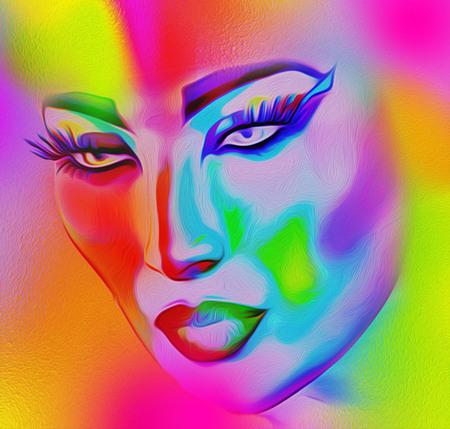 Imagen colorida, abstracta del arte pop de la cara de una mujer.