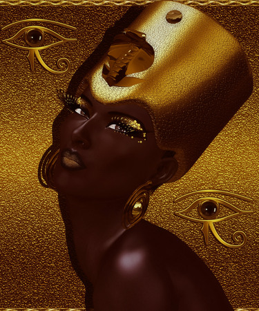 Black Egyptian Queen, beautiful face, gold glitter background.