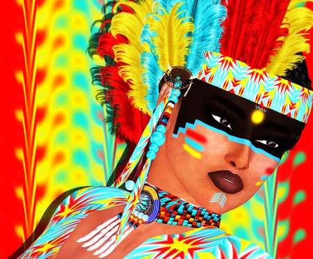 Native American girl with colorful feather headdress and abstract background