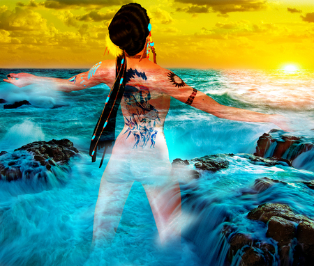 Native American girl with tattoo back facing the ocean and abstract background of sunset in our unique digital art style. Perfect for expressing themes of diversity, spirituality, pride, mystery, culture and more!