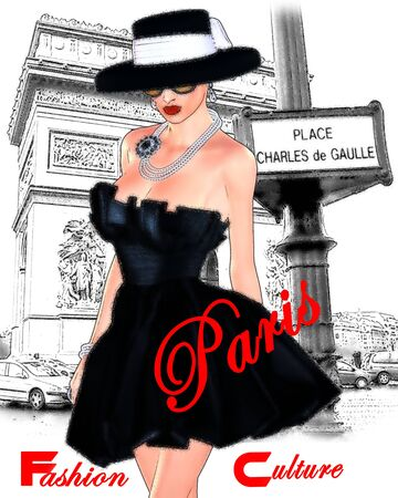 Paris Fashion scene,attractive woman in vintage style black dress and hat in our 3d render digital art style.