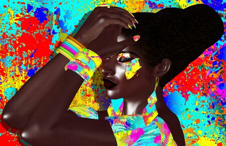 African American Fashion Beauty. A stunning colorful image of a beautiful woman with matching makeup, accessories and clothing against an abstract background. Modern 3d digital art render.