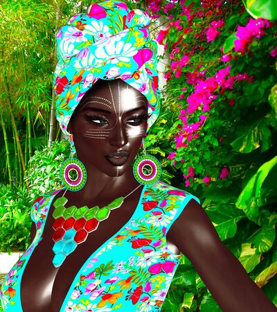 African Queen, Fashion Beauty. A stunning colorful image of a beautiful woman with matching makeup, accessories and clothing against a floral background.  3d digital art render perfect for themes of beauty,diversity,pride and more! Stock Photo