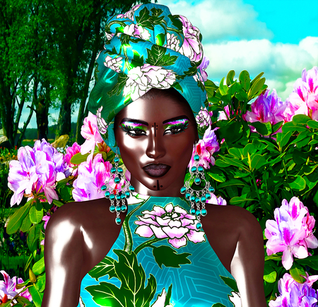 African Queen, Fashion Beauty. A stunning colorful image of a beautiful woman with matching makeup, accessories and clothing against a floral background.  3d digital art render perfect for themes of beauty,diversity,pride and more Stock Photo
