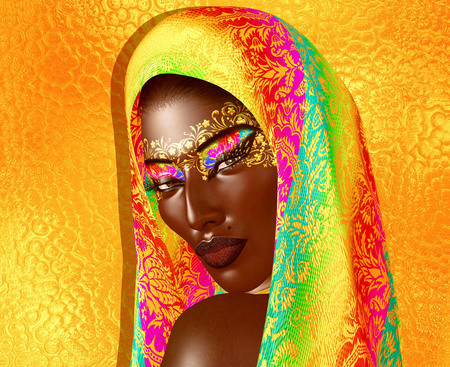African American Fashion Beauty with head veil and glitter cosmetics. Imagens