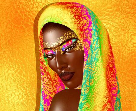 African American Fashion Beauty with head veil and glitter cosmetics. Zdjęcie Seryjne