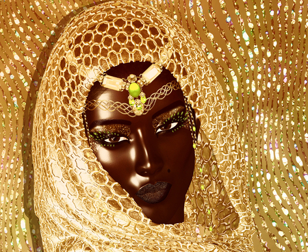 African American Fashion Beauty with head veil and glitter cosmetics