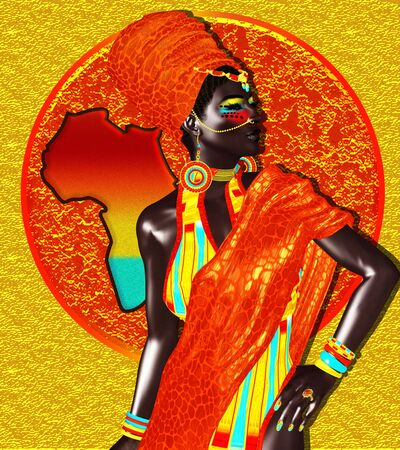 Beautiful African woman on colorful abstract background with silhouette of African continent. Our 3d models are perfect for your work with diversity, beauty, fashion and more! Imagens
