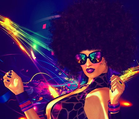 Vintage, retro, 80 s disco dancer girl with Afro hair style. Sexy, high energy image for entertainment, clubbing and night life themes.
