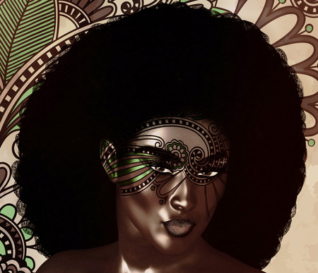 African American Fashion Beauty. Perfect for themes of fashion, diversity, hairstyles, beauty and makeup. Floral abstract background enhances the scene. 3d digital art render. Archivio Fotografico