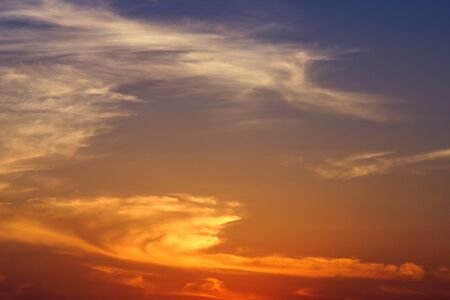 Cirrus clouds in the evening sky. sunset