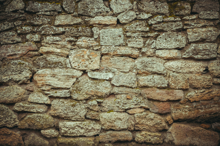 old wall of stone shell rock of arbitrary shape. toned image. background for titles