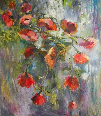 Red poppies on an abstract background. Oil painting on canvas. Loose brush strokes. 版權商用圖片