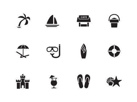 sandal tree: Iconos Beach Vectores