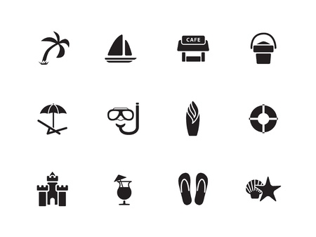 Strand pictogrammen Stock Illustratie