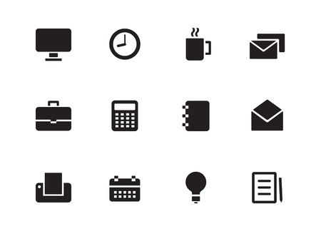 Business icons on white background. Vector illustration. Vector