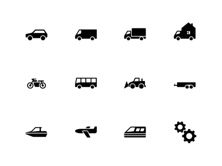 Cars and Transport icons on white background. Vector illustration.