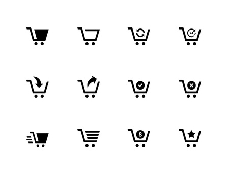 Shopping cart icons on white background. Vector illustration. Stock Vector - 21594408