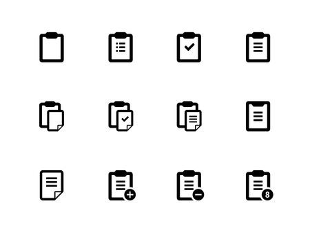 Clipboard icons on white background. Vector illustration. Illustration