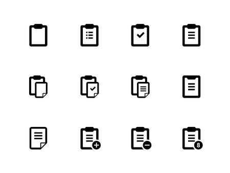 Clipboard icons on white background. Vector illustration. Illustration