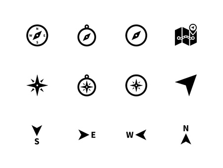 Compass icons on white background. Vector illustration. Vettoriali