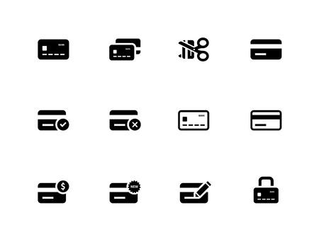 Ikony kart kredytowych na białym tle. Ilustracji wektorowych.