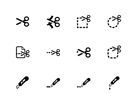 Scheren mit Schnittlinien Symbole. Vektor-Illustration.