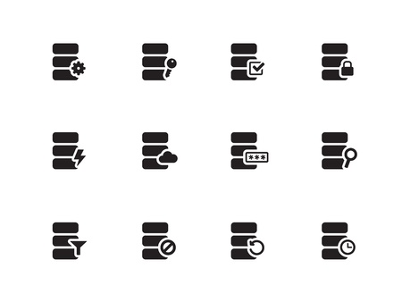 Database icons on white background. Vector illustration. Vector