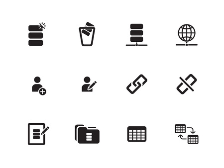 db: Database icons on white background. Vector illustration.