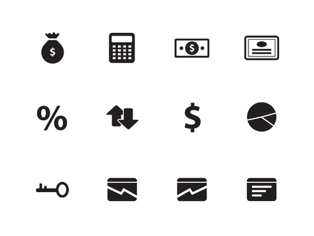 sign contract: Economy icons on white background. Vector illustration. Illustration