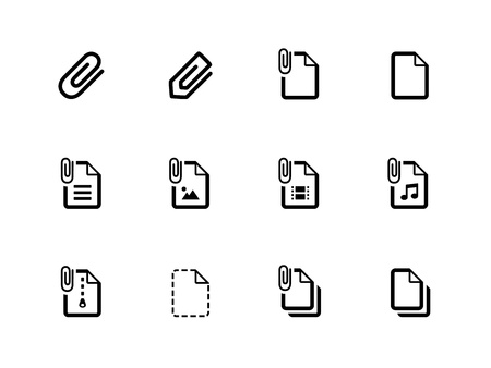 File Clip icons on white background. Vector illustration.