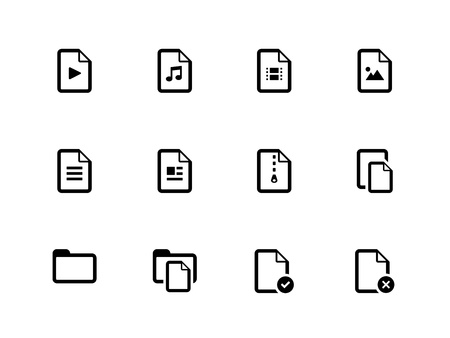 Set of Files icons on white background. Vector illustration. Vector