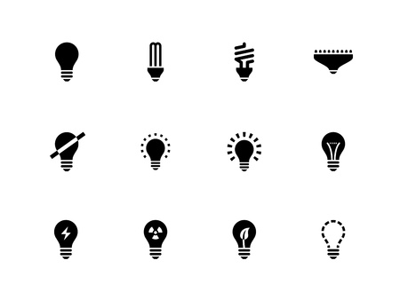 compact fluorescent lightbulb: Light bulb and CFL lamp icons on white background. Vector illustration.