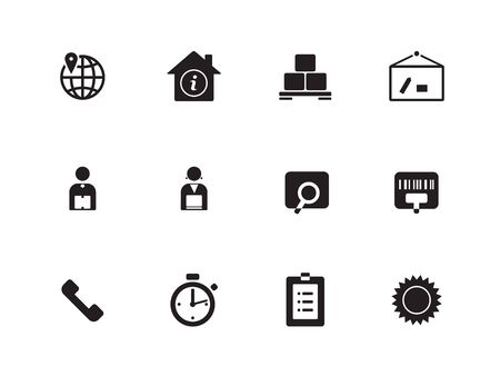 Logistics icons on white background. Vector illustration.
