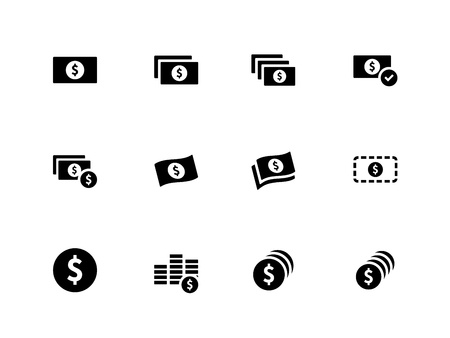 Dollar Banknote icons on white background. Vector illustration. Stock Vector - 21594459