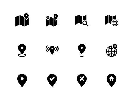 Kaart pictogrammen op een witte achtergrond. GPS en navigatie. Vector illustratie. Stock Illustratie