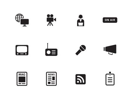commentator: Media icons on white background. Vector illustration.