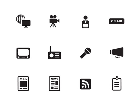 Media pictogrammen op een witte achtergrond. Vector illustratie.
